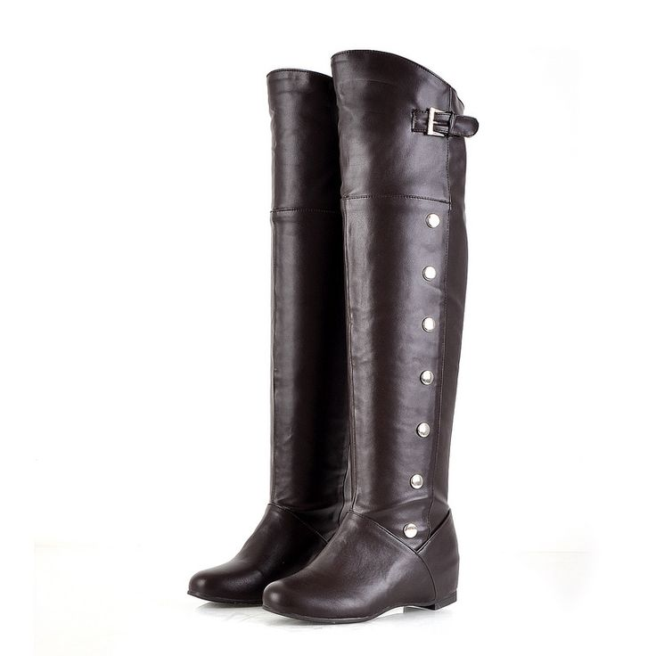 >> Click to Buy <<   Sexy Black Brown White Women Over the Knee Thigh High Ridding Boots Ladies Winter Shoes Rivets A612 Plus Big Size 34 47 #Affiliate