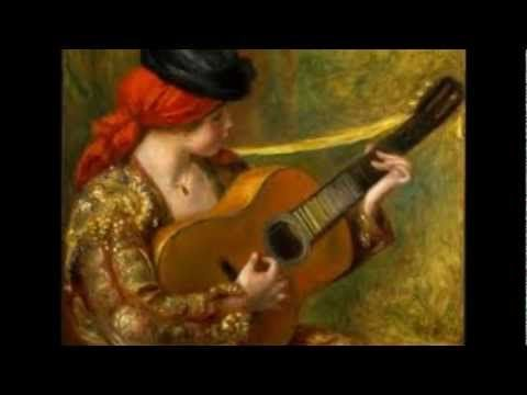 Pierre Auguste Renoir Young Spanish Woman With A Guitar Painting Oil On Canvas Frame Is Shipped