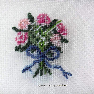 Traditional Ribbon Tied Bouquet Petit Point with Roses and Lily of the Valley