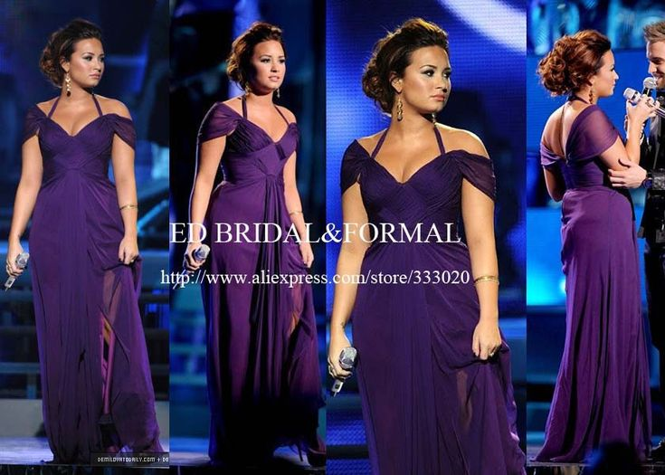 Demi Lovato Purple Dress at Latin Grammy Awards Chiffon Celebrity Evening Gown Cap Sleeve Prom Dress vestidos de noche