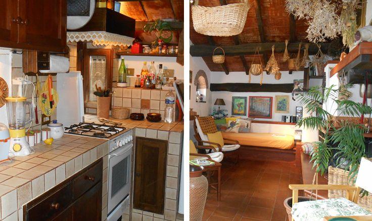 Entrando sulla sinistra la piccola e accogliente cucina con fornelli, armadietti e frigo e un piccola porta che dà accesso a un capiente ripostiglio. Una porta e una scala ci conducono nella parte sottostante.