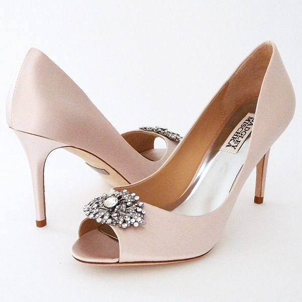 Badgley Mischka Accent, Light Pink ~ Badgley Mischka Wedding Shoes. Accent classic peep to pumps in light pink adds a touch of color for brides & is fabulous for a Spring Fling.