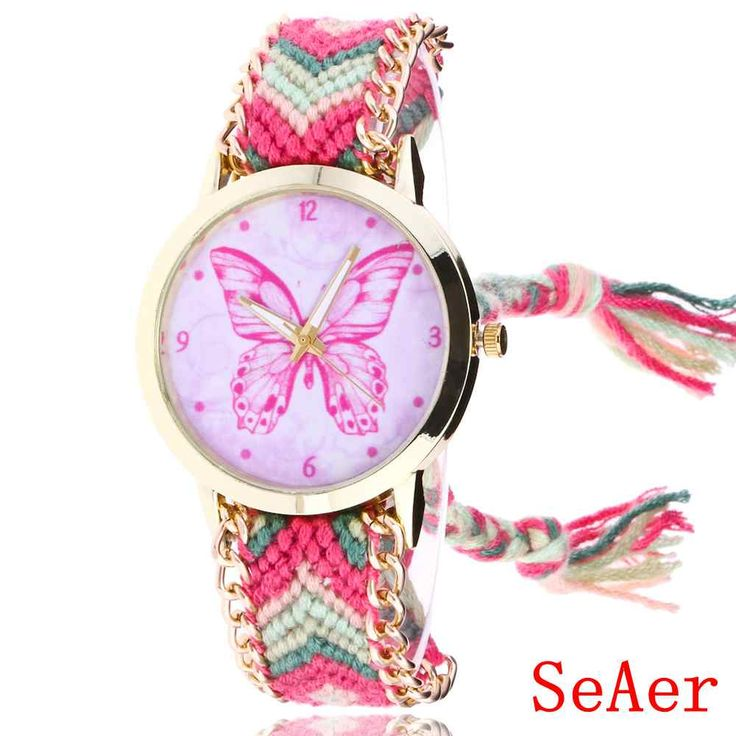 Wool Braided Butterfly Bracelet Watch Sweet Fashion Women Watches Free Shipping   WR013