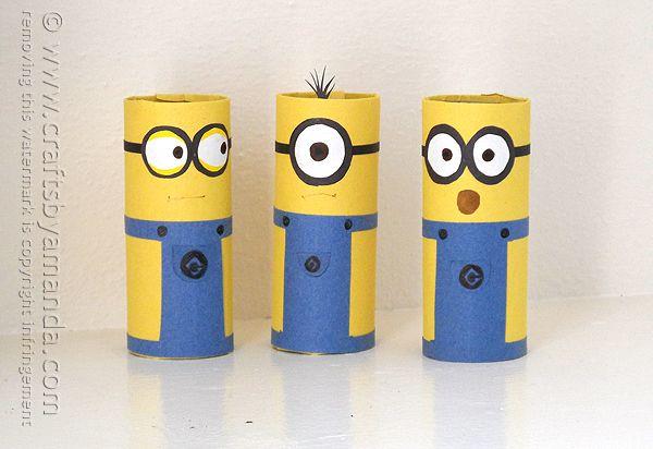 Cardboard Tube Minions - Crafts by Amanda