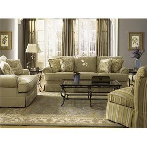 Penny Lane Skirted Sofa with Accent Pillows by Klaussner, 97Wx44Dx31H,  another view