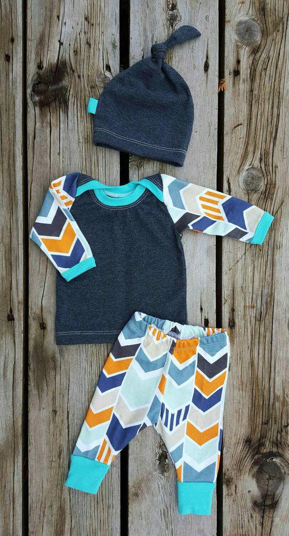 Mod Chevron Baby Boy Coming Home Outfit Shirt by brambleandbough