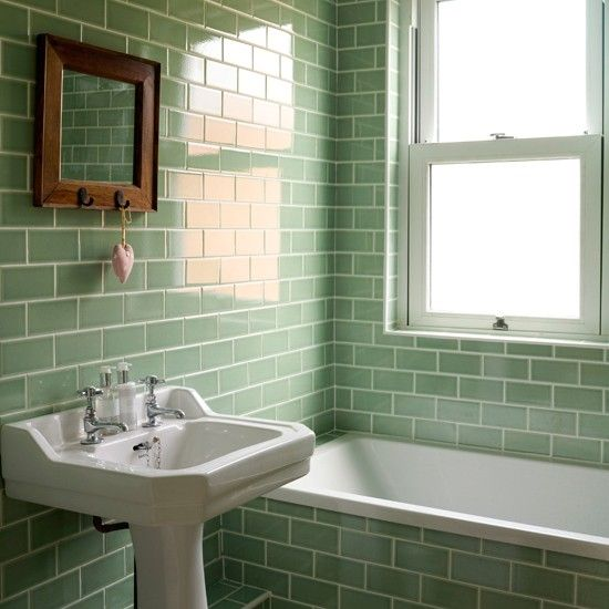 Green tiled bathroom | Bathroom decorating ideas | Style at Home | Housetohome.co.uk