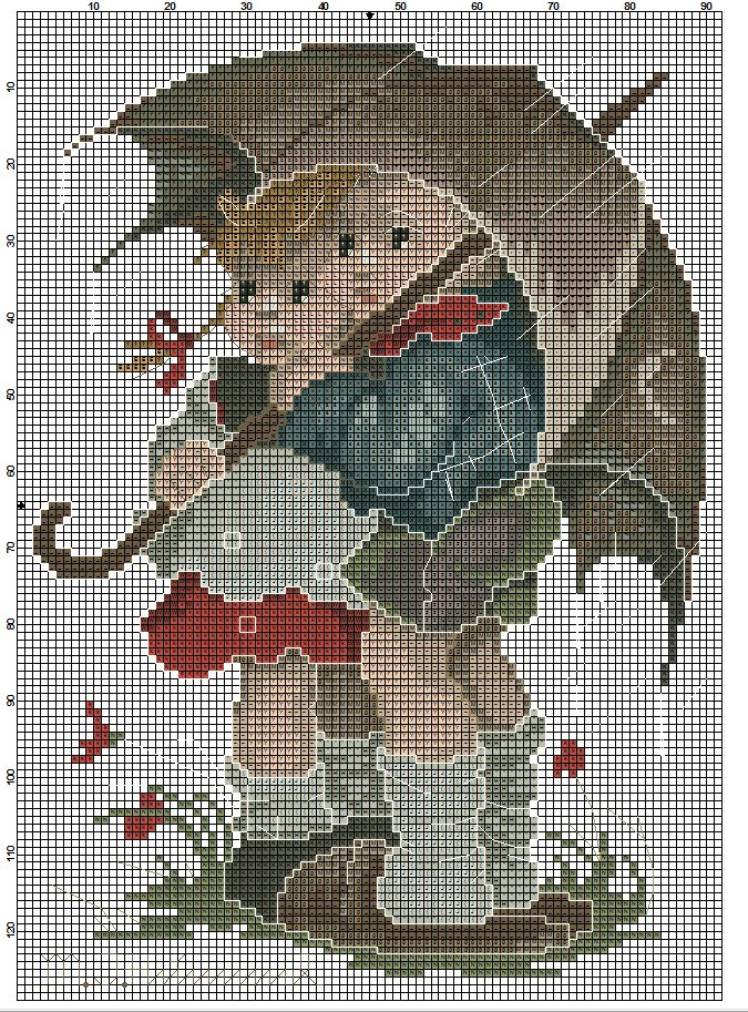 """Stormy Weather"" / ""In The Rain"" - Hummel cross stitch, pattern 1"