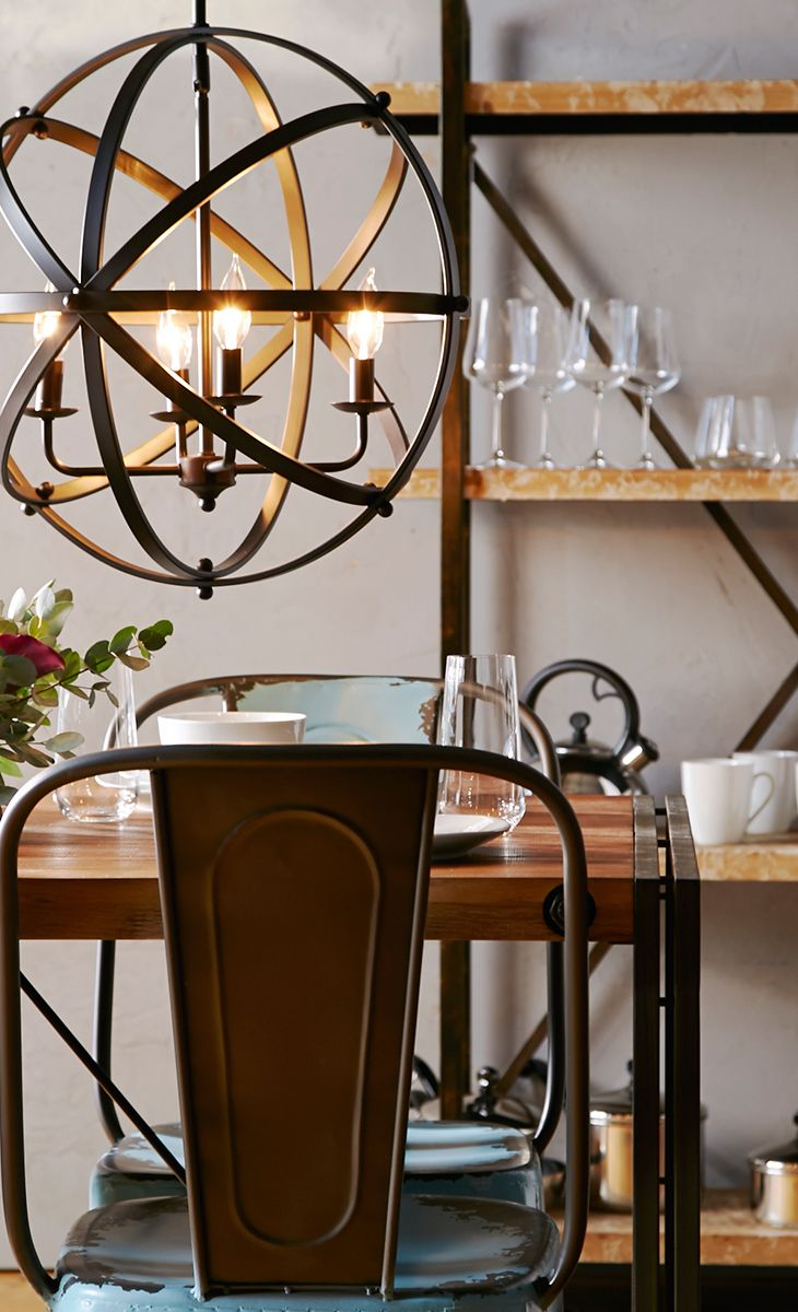 Set this industrial bookcase in the kitchen