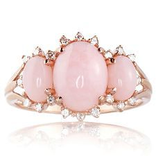 pink opal & diamond trio rose gold ring