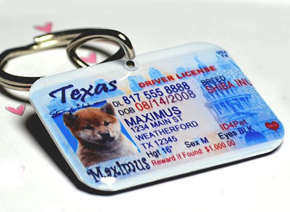 Dog+Tag+Cat+Pet+Tag+Pet+ID+Tag+Texas+Driver+License+by+by+ID4Pet,+$25.00