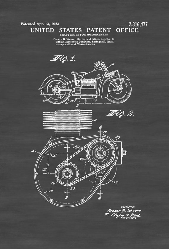 Indian Motorcycle Patent 1943  Patent Print by PatentsAsPrints