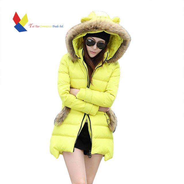 Winter Jacket Women 2015 FashionLuxury Large Fur Women's Duck Down Jacket Thick Long Hood Coat Ladies Coat Cat Ears Parka