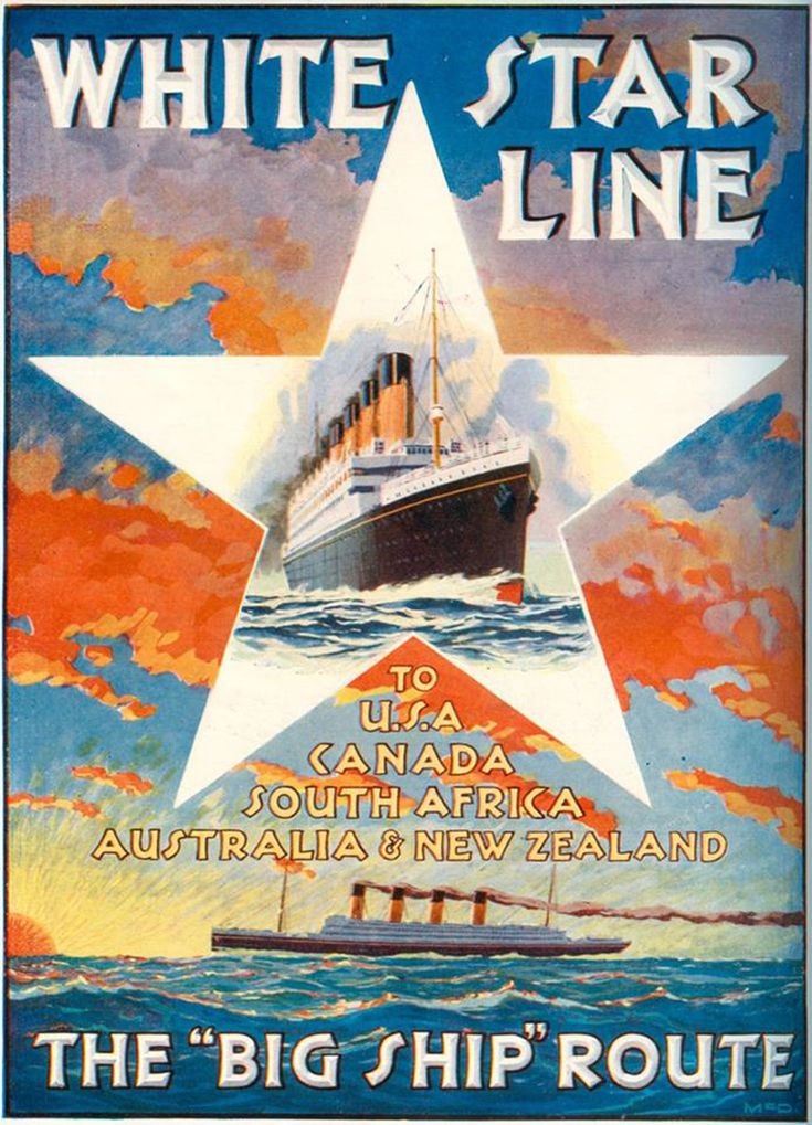 Poster art by William McDowell, published in 1933. Poster published by the Liverpool Printing & Stationary Co. Ltd., James Street, Liverpool. Images courtesy of White Star Line Archive.
