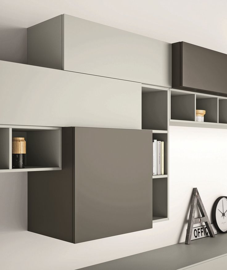 Mueble modular de pared composable lacado slim 89 for Studio design muebles