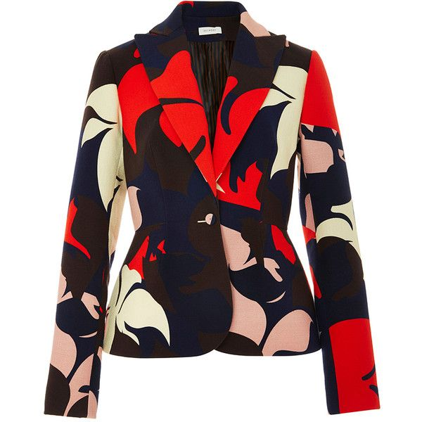 DELPOZO Floral Printed Cotton Blazer ($1,400) ❤ liked on Polyvore featuring outerwear, jackets, blazers, blazer, coats, coats & jackets, flower print jacket, tailored blazer, floral print blazer and flower print blazer