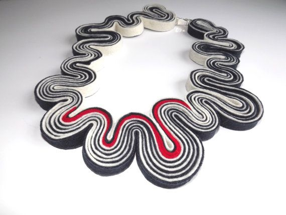 Statement Necklace Hypnotic Felt Necklace Felted Jewelry Recycled Eco Friendly Felt Bib Necklace In Navy Blue White Red