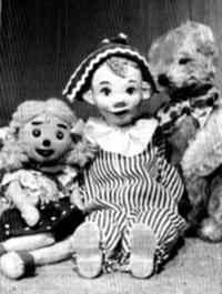 Andy Pandy, Teddy and Loobie lou, first aired on British TV in 1950. My brother was frightened of Loobie Lou for some reason and would hide behind the sofa when she came on the tv.  I still tease him about it haha!