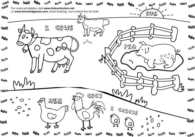 Preschool Coloring Pages and Worksheets | Farm coloring pages ... | 450x640