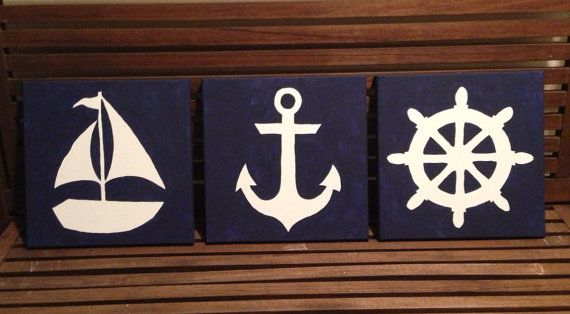 Hand painted nautical silhouettes on canvas (3 items) on Etsy, $45.00