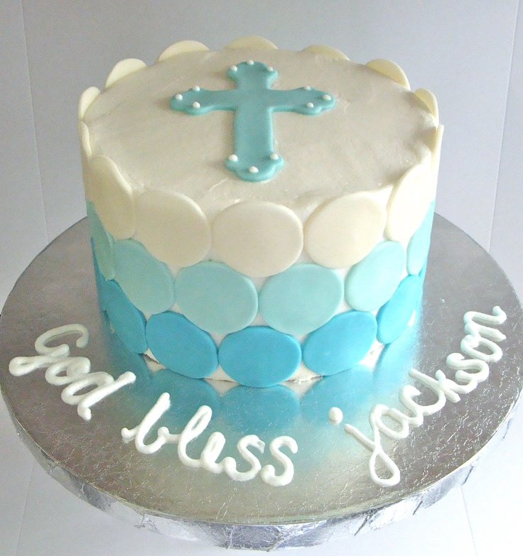 Ombre baptism cake by bella cakes