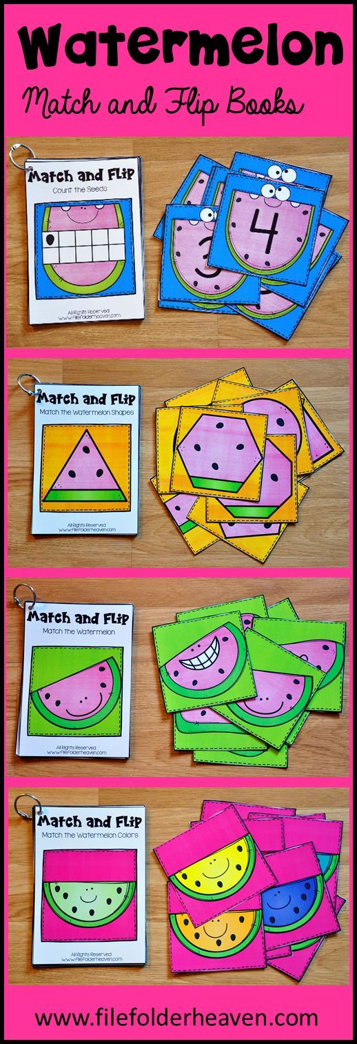 These Matching Activities: Watermelon Match and Flip Books focus on basic matching skills. In these activities, students work on matching picture to picture (or matching by emotion) matching by shape, matching by counting and matching by color.  There are four Match and Flip Books included in this download.  Match the Watermelon Number to the Number of Seeds Shown (Matching By Number) Match the Watermelon Shapes (Matching By Shape) Match the Watermelons by Color (Matching By Color)
