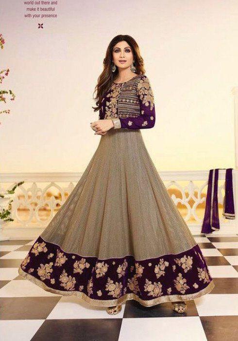 Beige & Purple Shilpa Shetty Party Wear Anarkali Dresses #indianweddingdresses