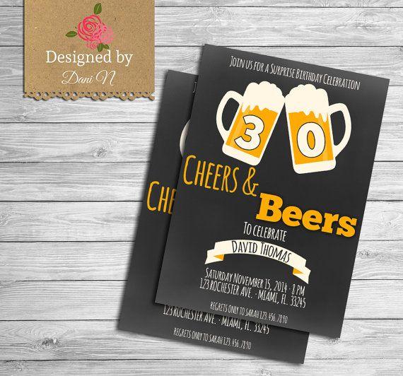 Beer Birthday INVITATION, Men invite, Any Age, 50th Birthday invitation, 40 Birthday invitation, 30th Birthday Invitation, Adult party #handmade #gifts