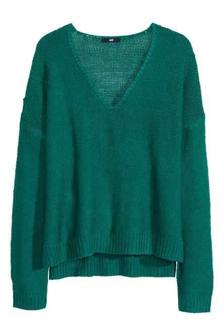 Sweter robiony lewym ściegiem