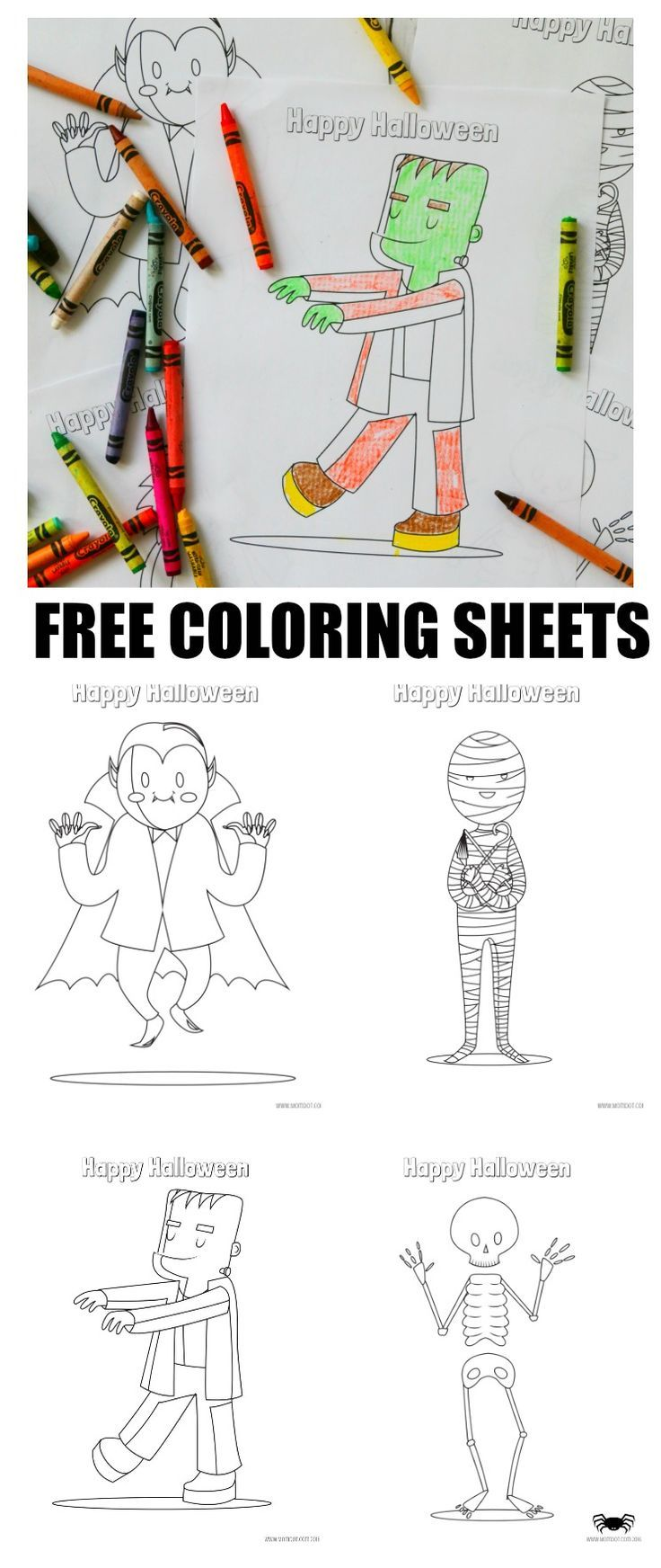 Free Halloween Coloring Sheets, download of 6 sheet Halloween set for coloring FREE! Great for kids, classrooms, at home school - Free Printable