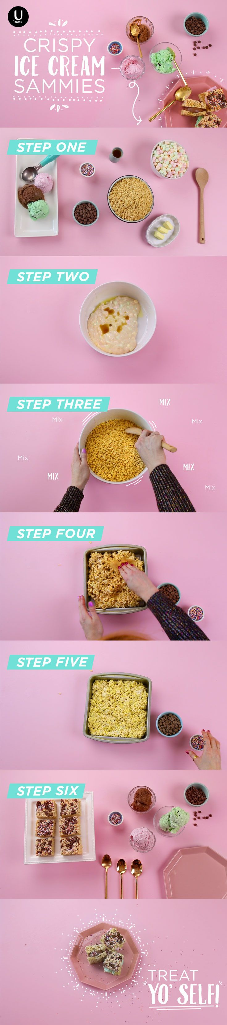 We're over here turning Rice Krispie Treats into super easy ice cream sandwiches! Get your period cravings sorted out with this DIY step by step recipe video: http://spr.ly/6490Bb8ak