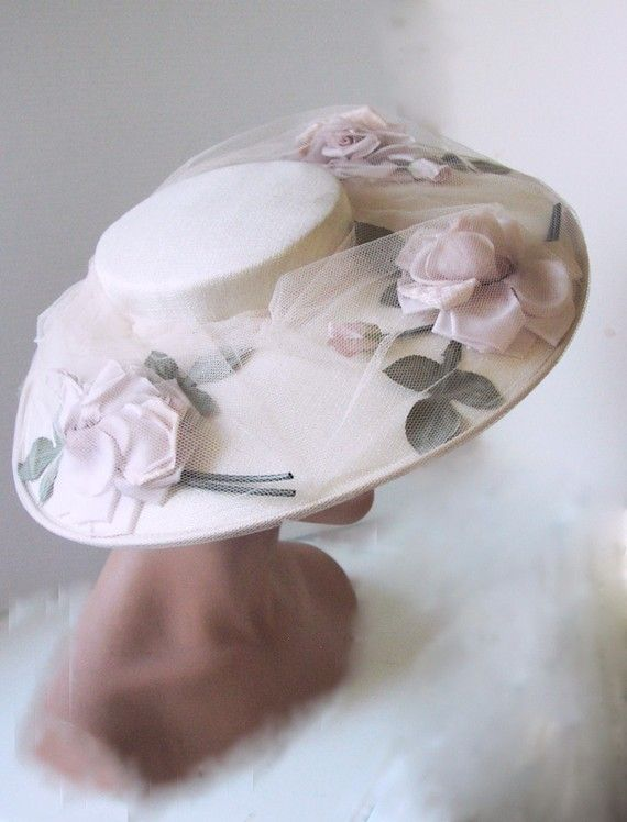 MINT 1950s Rose and Net straw picture hat by fifisfinds on Etsy, $100.00