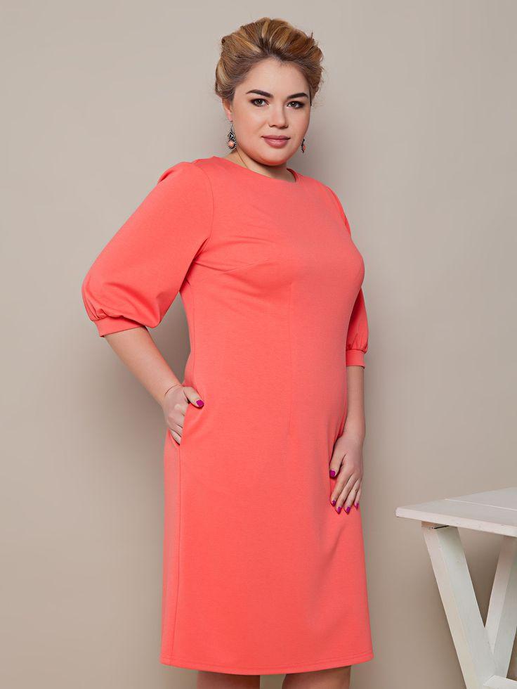 Красивое трикотажное платье миди для полных кораллового цвета. Платье деловое, вечернее и на каждый день. Коллекция весна-лето 2016.