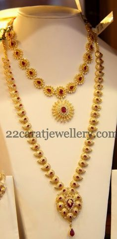 CZ Mango Mala and Short Necklace | Jewellery Designs