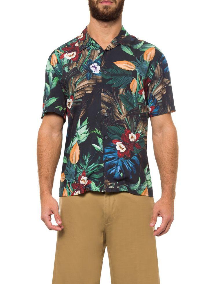 Camisa Masculina Hawaiian Breeze Gola Americana - Ellus - Preto - Shop2gether