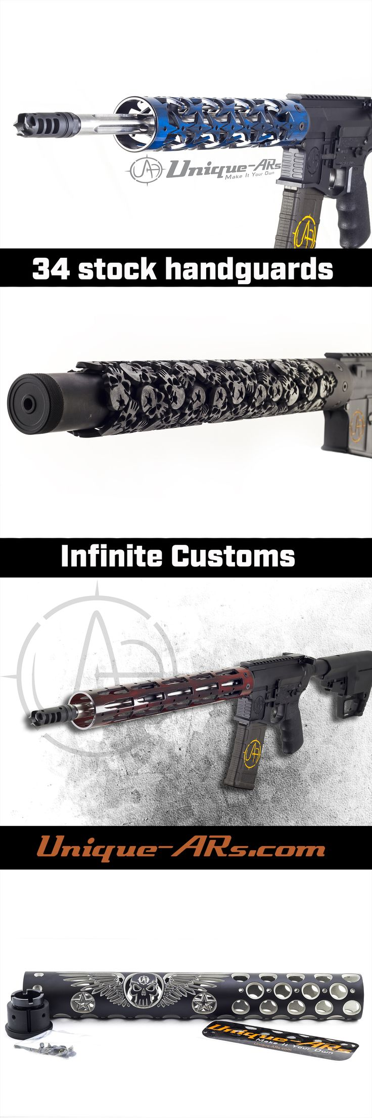 We offer 34 stock handguards for your AR-15, AR-10, or Airsoft rifle.  If stock handguards don't do it for you, we love to do custom handguards also.  Come up with an idea, and we can make it!  Check out some past customers' customs here- https://unique-ars.com/custom-handguards/