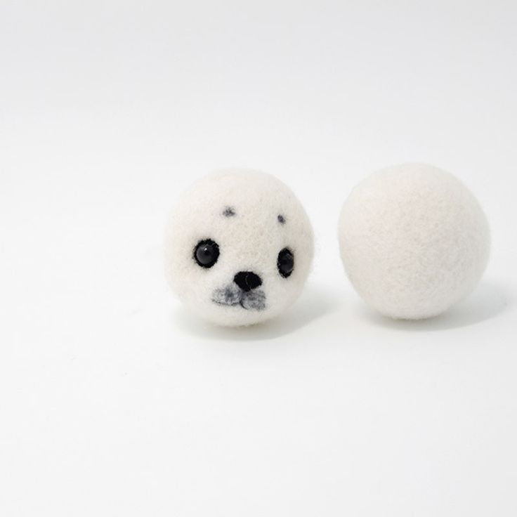 Needle Felted Felting Animals Seal White Cute Craft