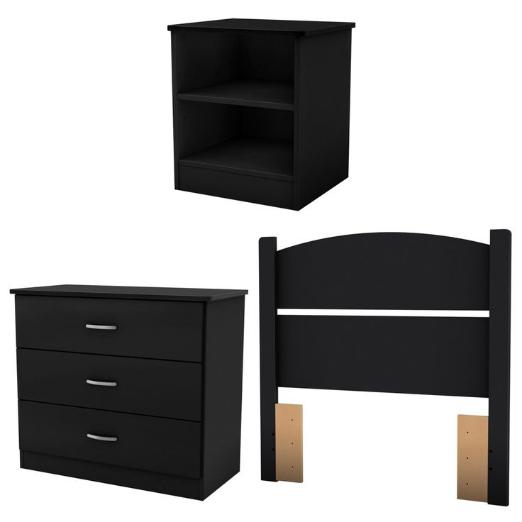 South Shore Libra Collection Twin Bedroom in a Box - Pure Black - 3070223