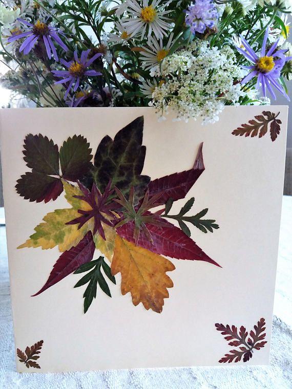 Fall leaves card. Pressed autumn leaves card. Colorful autumn