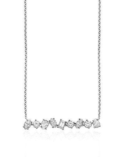 J9106 Kimberly McDonald 18K White Gold Mixed Diamond Bar Necklace  l Bergdorf Goodman
