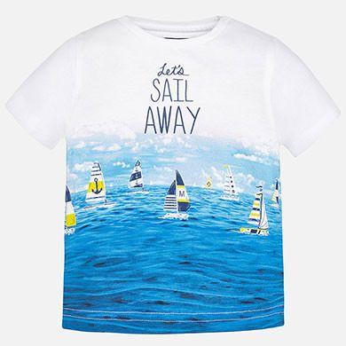 Camiseta bebé niño manga corta print barcos Canario - Mayoral