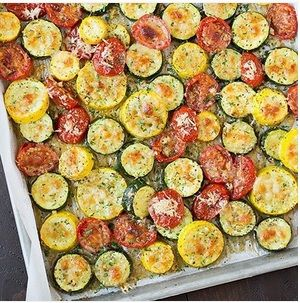 Wondering how to have something easy and healthy at home? Try on this recipe!    Prepare and cut zucchini, tomatoes, squashes into pieces and mix it with olive oil, garlic, Italian seasonings, salt, black peppers, and Parmesan cheese. Pour it onto a bakin