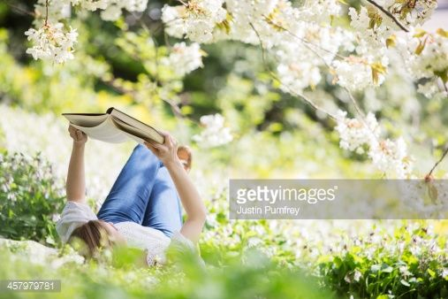 Stock Photo : Woman reading book in grass under tree with white blossoms