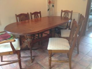 Solid Pine Table Six Chairs Stoke On Trent Picture 1