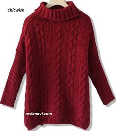 Длинный свитер спицами с разрезами - СХЕМА #ВязаниеСпицами http://mslanavi.com/2016/03/dlinnyj-sviter-spicami-s-razrezami/