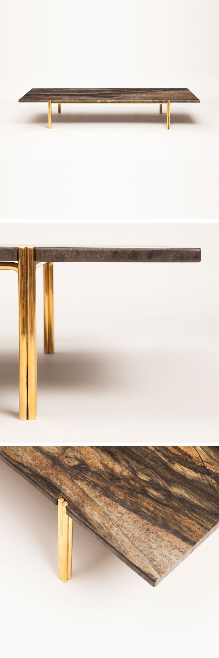 low table from Christopher Allen with marble and brass -★-