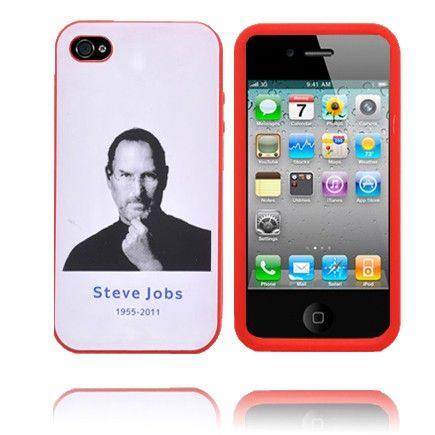 Soft Steve Jobs iPhone 4S Deksel (Rød Kant)