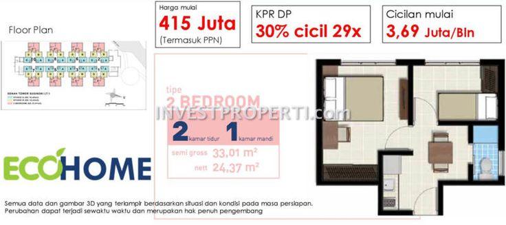 Tipe 2BR apartemen EcoHome CitraRaya