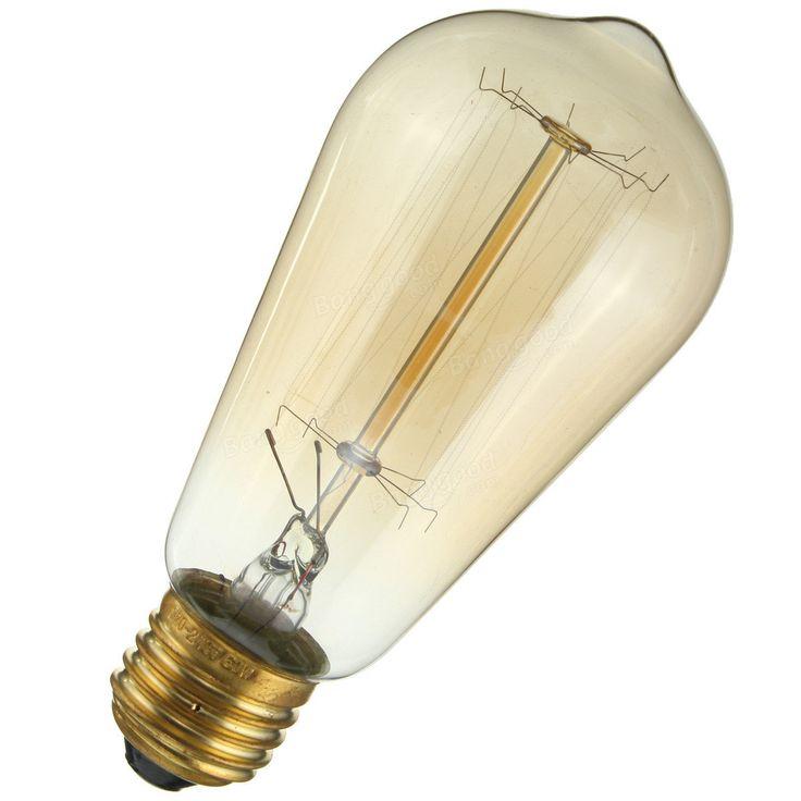 E27 60W ST58 Edison Bulb Antique Filament Lamp Retro Vintage Light 220V/110V Sale - Banggood.com