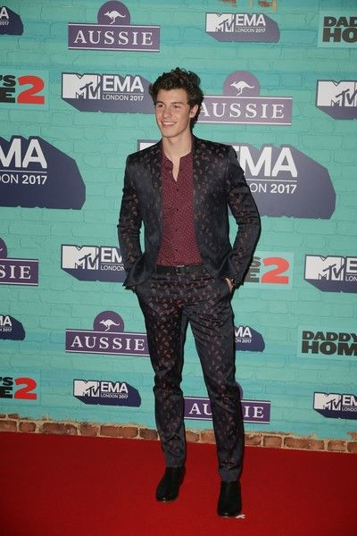 Canadian singer-songwriter Shawn Mendes poses on the red carpet arriving to attend the 2017 MTV Europe Music Awards (EMA) at Wembley Arena in London on November 12, 2017. / AFP PHOTO / Daniel LEAL-OLIVAS